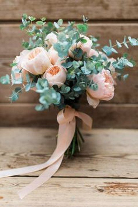blush peonies and eucalyptus plus blush ribbons