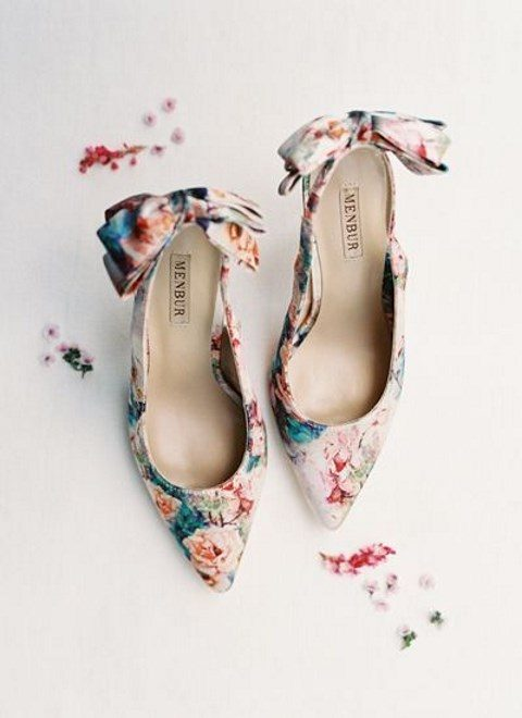 bold floral heels with large bows on the backs