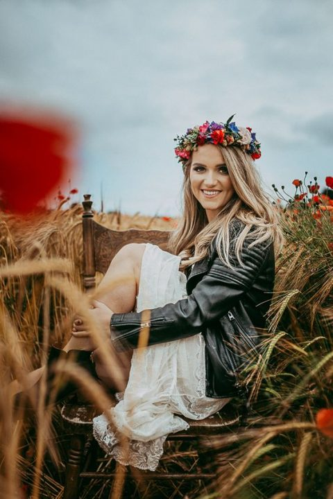 cover up with a leather jacket and add a colorful flower crown for a summer boho look