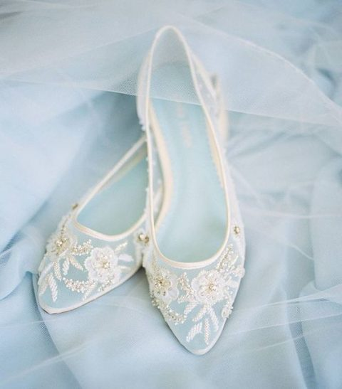 delicate lace applique and embellished sheer flats