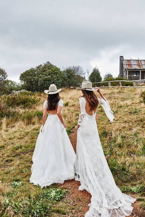hats add to the chic looks of these brides
