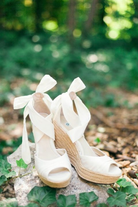ivory peep toe strappy wedges with bows for maximal comfort