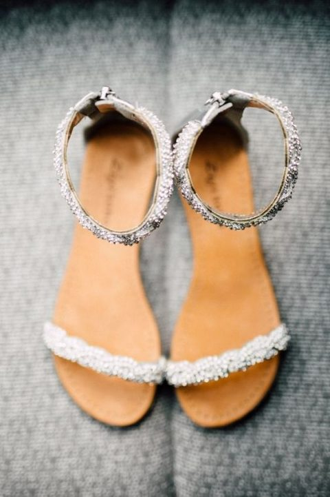 jeweled ankle strap flat sandals