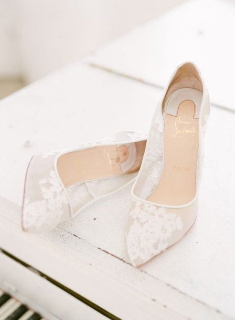 lace pointed toe sheer pumps