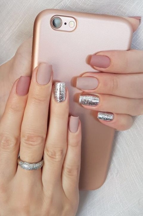 matte blush, dusty pink nails and silver glitter accents