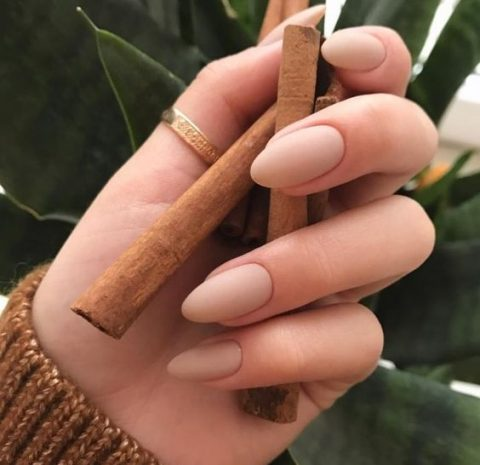 matte nude nails of almond shape are always in trend