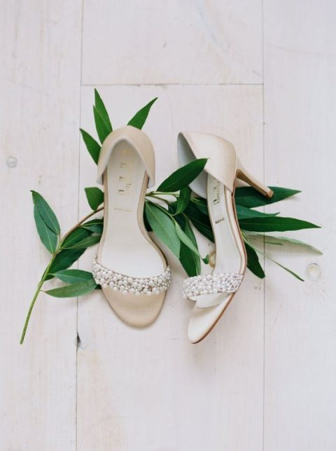 nude embellished wedding shoes with pearls
