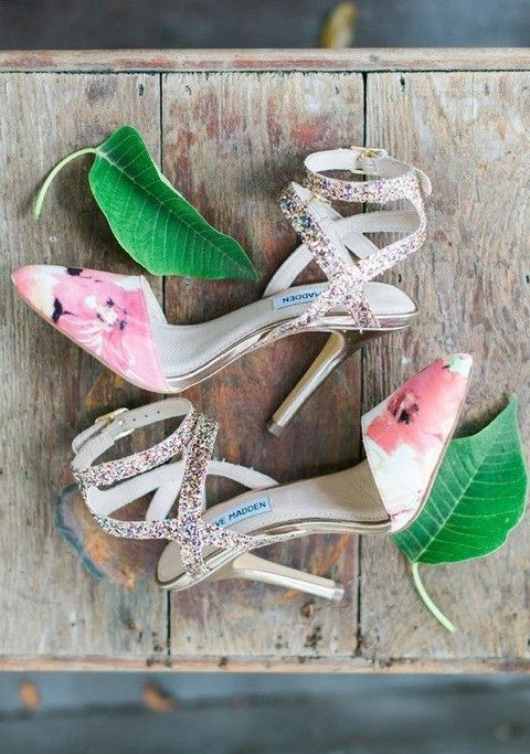 pink floral print with glitter straps