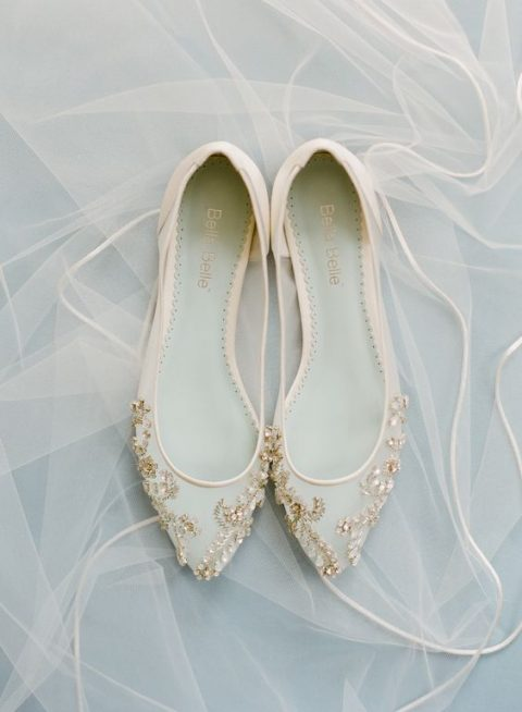 sheer heavily embellished flats are a tender option