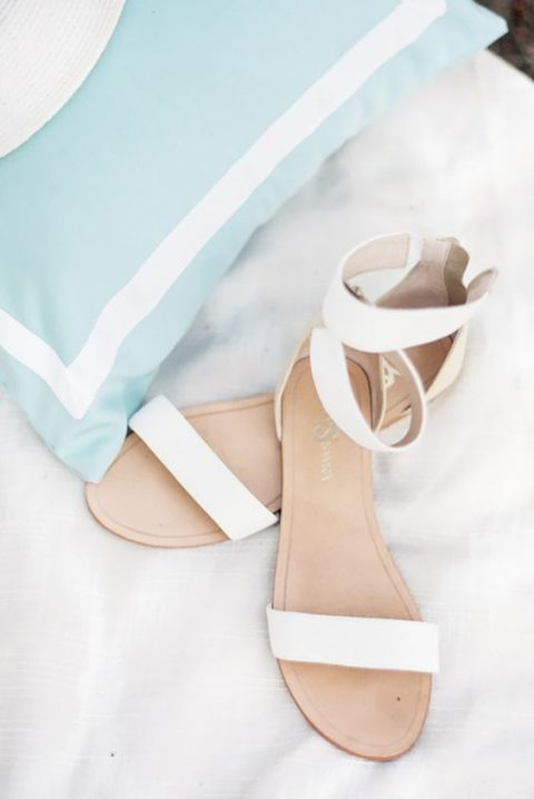 simple white ankle strap sandals are very comfy to wear