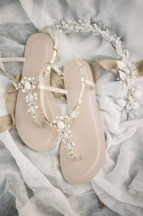 sparkling bridal sandals will fit many wedding venues