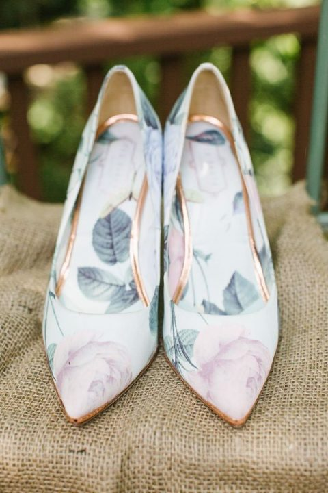 sweet pastel floral wedding shoes for a garden bride