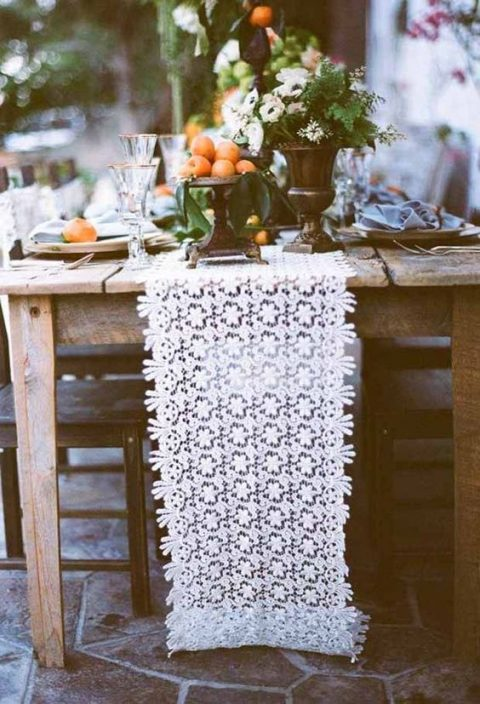a chic white lace table runner for summer