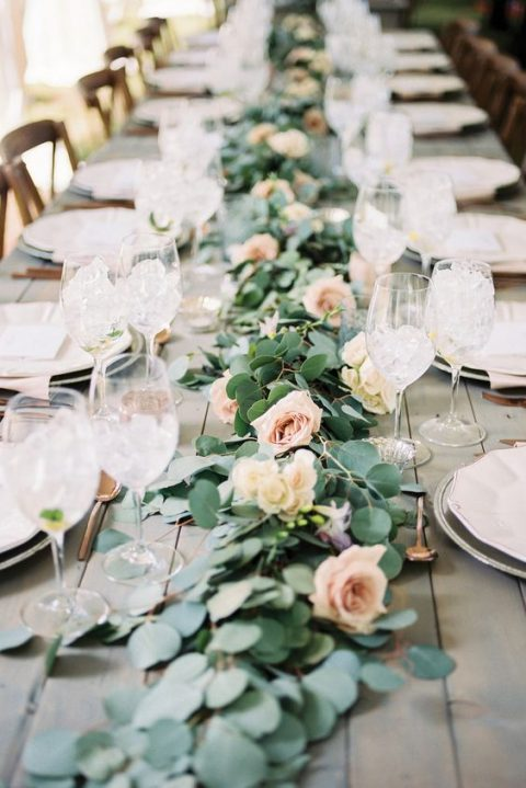 a eucalyptus and blush roses table runner