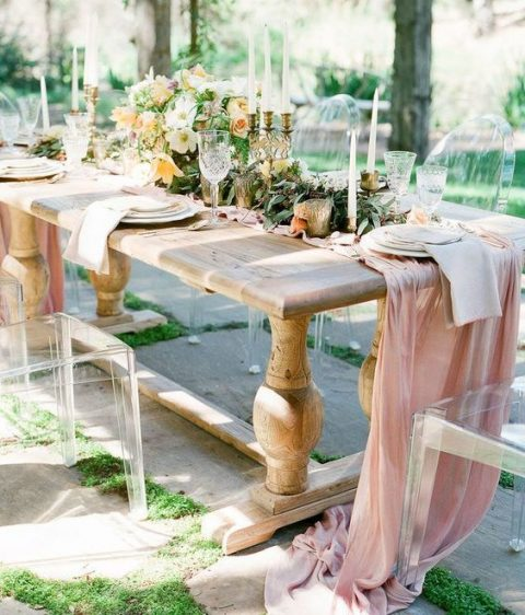 a light pink fabric table runner