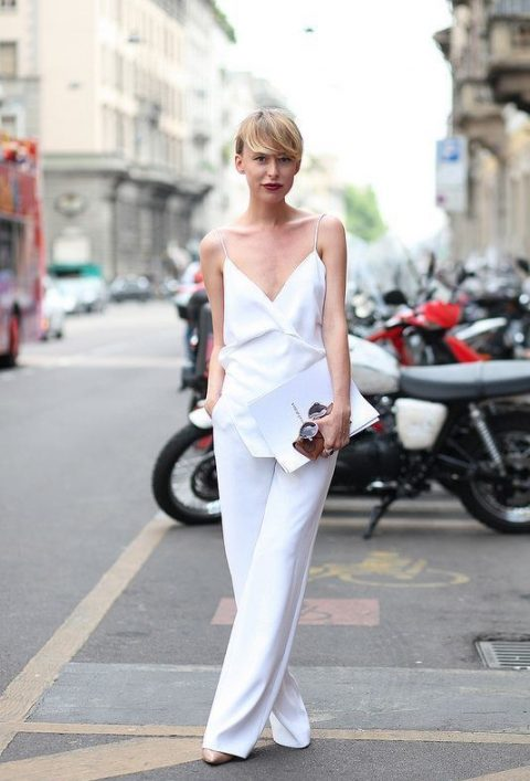 a minimalist jumpsuit with spaghetti straps and wide leg pants