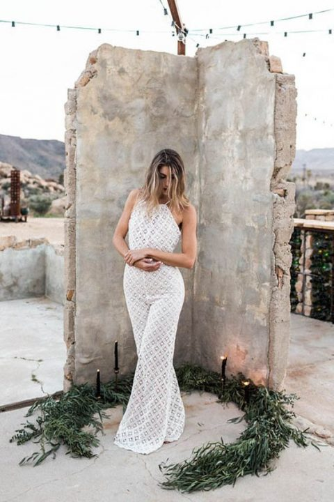 boho lace fitting jumpsuit with a halter neckline and wide leg pants