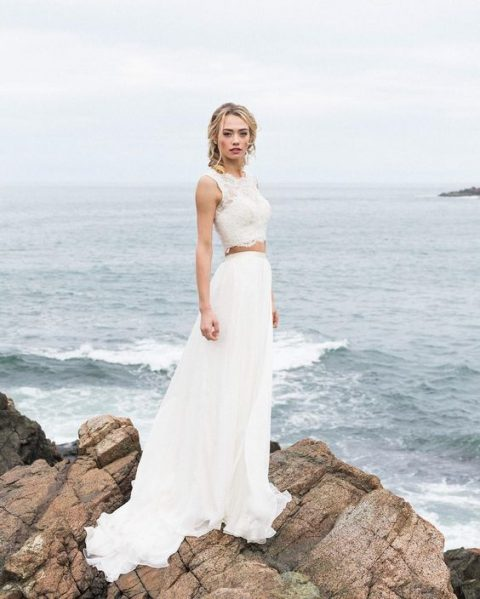 a bridal separate with a lace sleeveless crop top and an A-line skirt