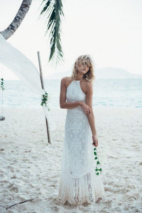 a lace halter neckline wedding dress for a boho beach bride