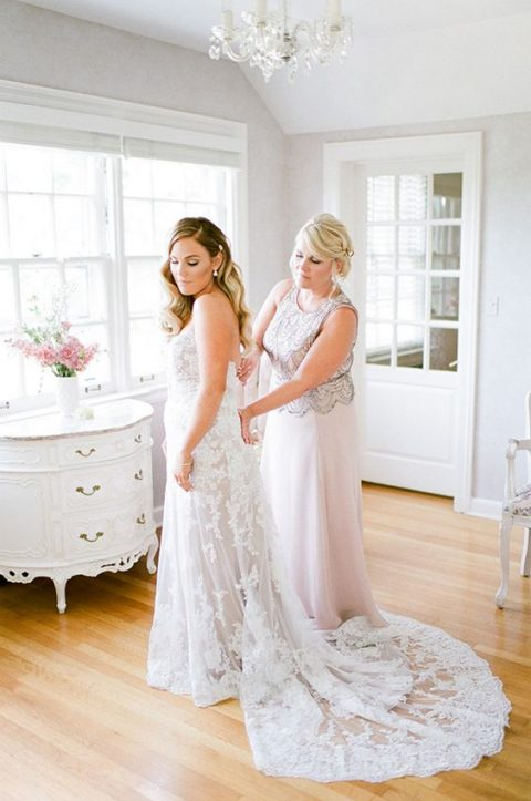 a maxi blush A-line gown with a grey lace bodice