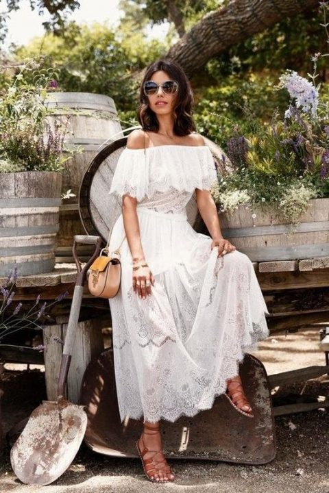 a romantic lace off the shoulder dress for a vintage or beach bride