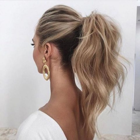 a textural high ponytail with a bump is a simple and cool option