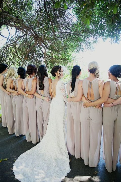 off-white bridesmaids_ jumpsuits with ties on back and cutouts