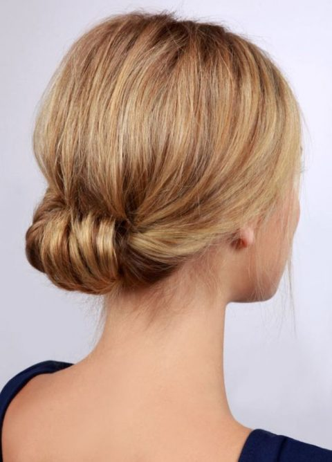 such a twisted low updo can be made in 2 minutes and fits medium length