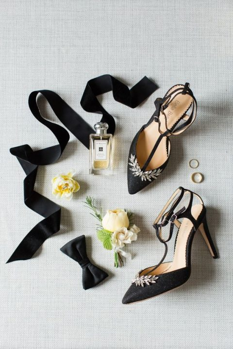 black crystal accented shoes with T-straps