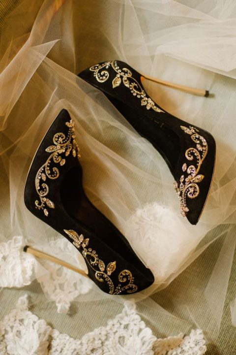 black suede wedding heels with gold embroidery and embellishments for a glam bride