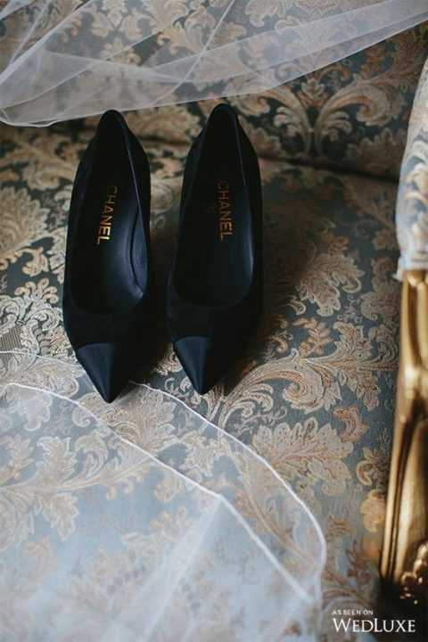 black velvet pointed toe Chanel shoes
