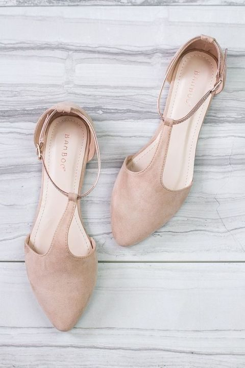 blush suede T-strap flats for a neutral fall wedding