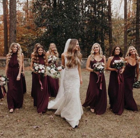 burgundy bridesmaids_ dresses with spaghetti straps and halter necklines is fall classics