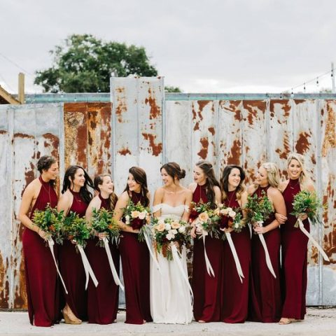 burgundy halter neckline maxi dresses are classics for any fall wedding
