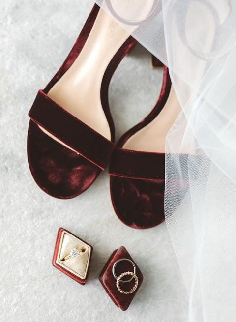 burgundy velvet heeled sandals for a statement fall bridal look