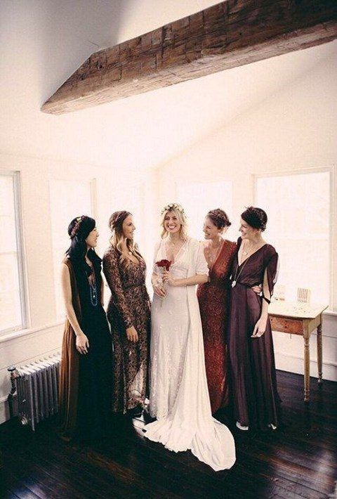 chic mismatching bridesmaids_ dresses in brown, purple, burgundy and dusty pink with a matching print