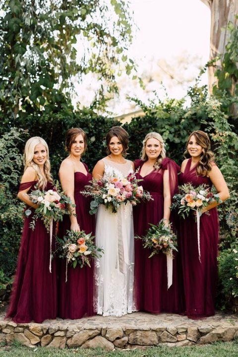 chic plum-colored maxi gowns with different tops to highlight every bridesmaid_s style