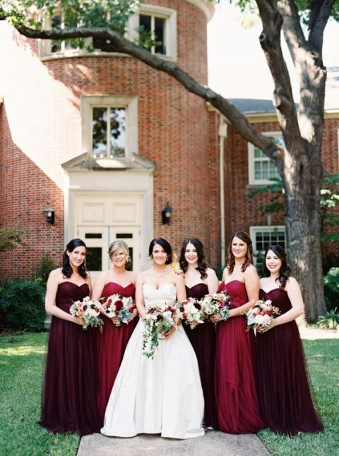 classically elegant strapless maxi dresses in red and burgundy for the fall