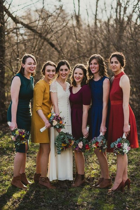 colorful knee bridesmaids_ dresses in red, navy, green, mustard and purple plus booties