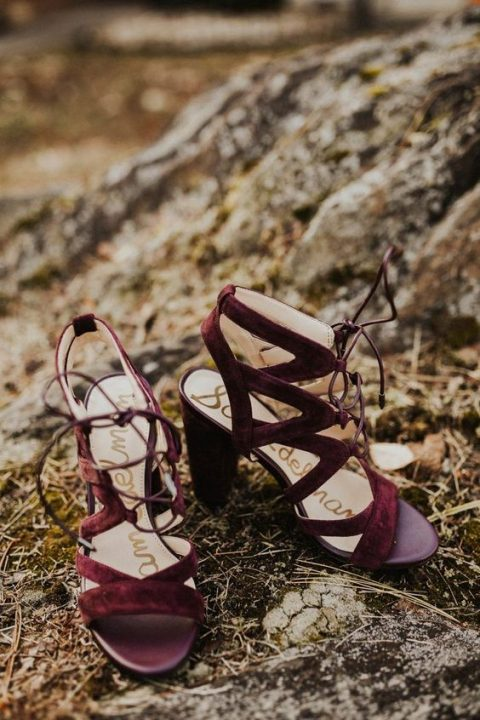 elegant burgundy lace up bridal shoes for a fall bride