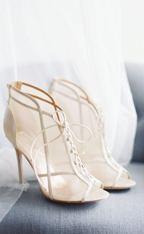 elegant sheer bridal booties with lacing up look super chic