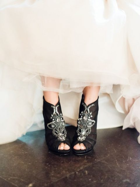 gorgeous black peep toe booties with embellishments by Badgley Mischka for a glam Halloween wedding