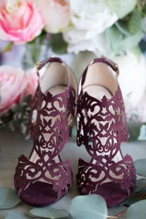 gorgeous plum-colored laser cut wedding heels to make a statement