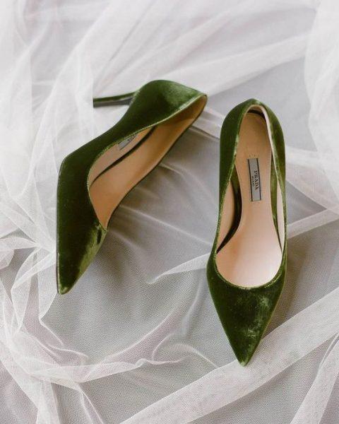 grass green velvet heels to add color and texture