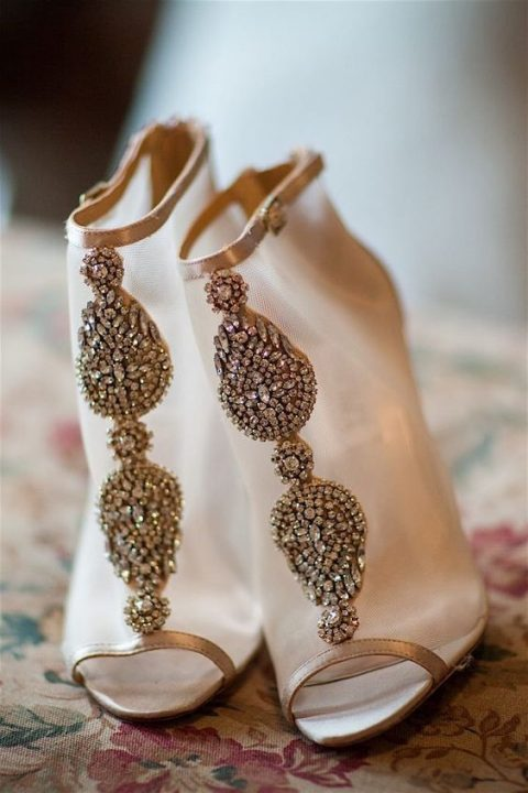 make a statement with sheer heavily embellished bridal booties