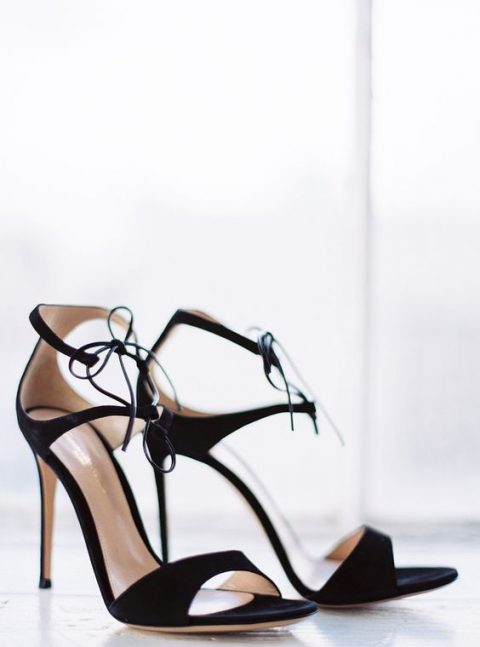 minimalist black high heeled wedding shoes with lacing up
