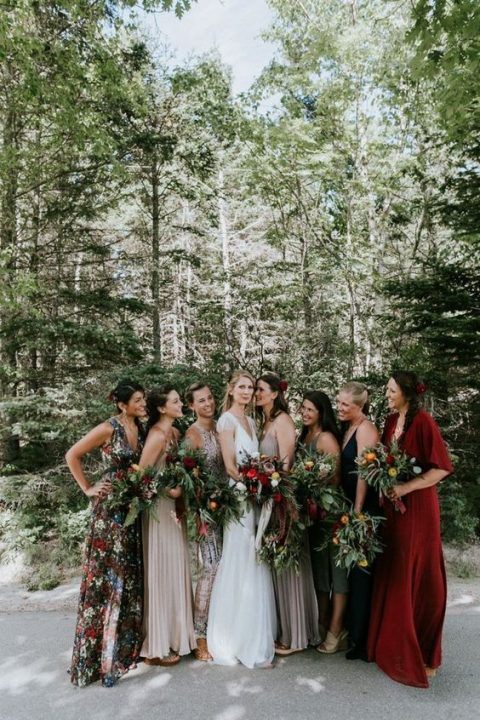 mismatched bridesmaids_ dresses in blush, grey, green, burgundy and with a floral print