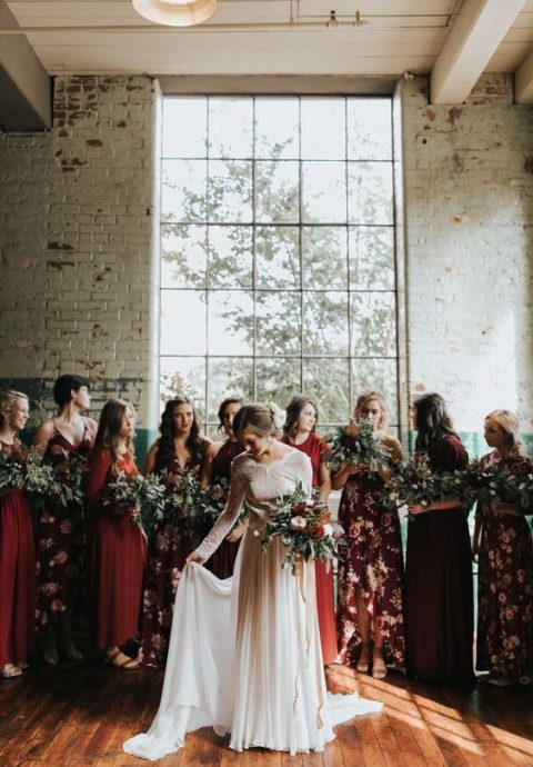 mismatched burgundy, red and burgundy floral print maxi gowns for a romantic boho look