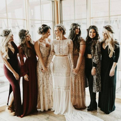 mismatching bridesmaids_ looks in green, black, neutrals and burgundy for a boho chic fall wedding
