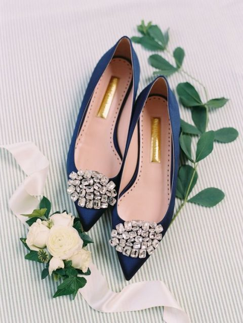 navy wedding shoes with oversized embellishments for something blue at the wedding